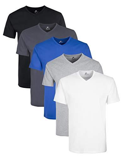 Lower East Herren T- Shirt mit V-Ausschnitt aus...