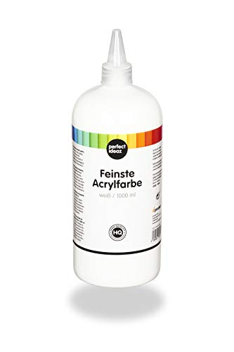 perfect ideaz 1000 ml Acryl-Farbe weiß, acrylic...
