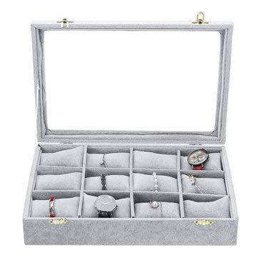 TuToy 12 Grids Jewelry Storage Box Watch Display...