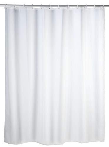 WENKO Duschvorhang Uni Weiß - Textil , waschbar,...