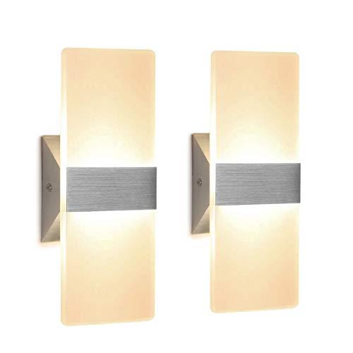 2 Stücke Wandleuchte Innen LED 12W Wandlampe...