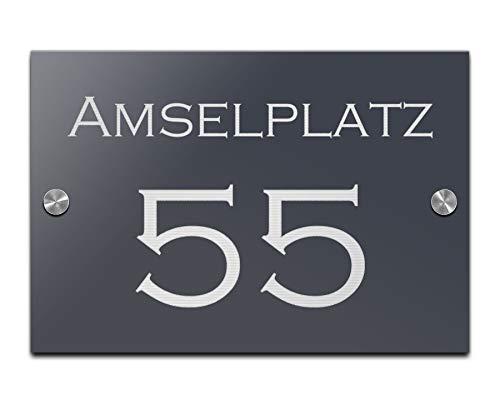 Hausnummer mit Gravur Straße und Ziffern Zahlen...