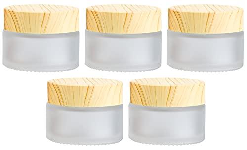 Winfred 5 Stück Glastiegel mit Bambusdeckel für...