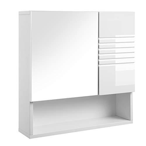 VASAGLE Spiegelschrank fürs Bad, Wandschrank,...