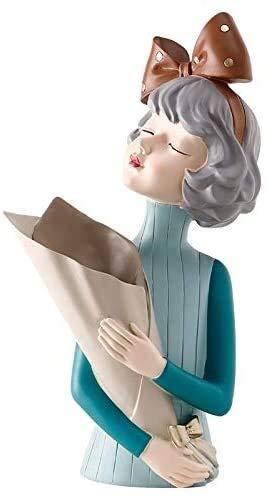WQQLQX Statue Bowknot Girl Vase Dekoration Home...