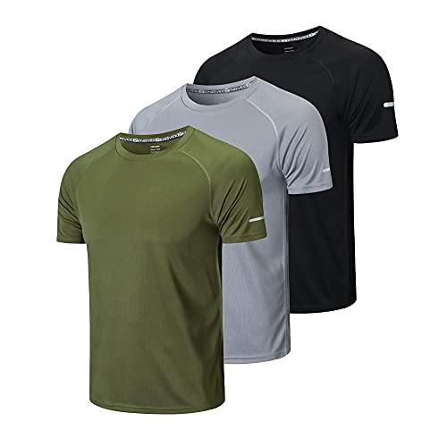 ZENGVEE 3er Pack T-Shirt Herren Laufshirt Kurzarm...