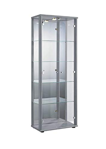 K-Möbel Glasvitrine in Silber (176x67x33 cm) mit...