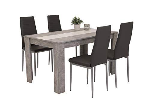 5-teilig Essgruppe Helene, Tisch Holzwerkstoff...