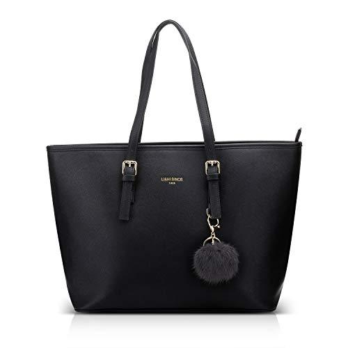 LI&HI Damen Handtasche Shopper Handtasche Schwarz...