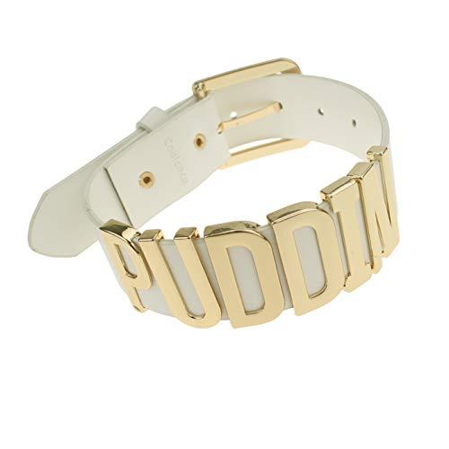 Udekit Verstellbar Weiße Leder Gürtel Gold...