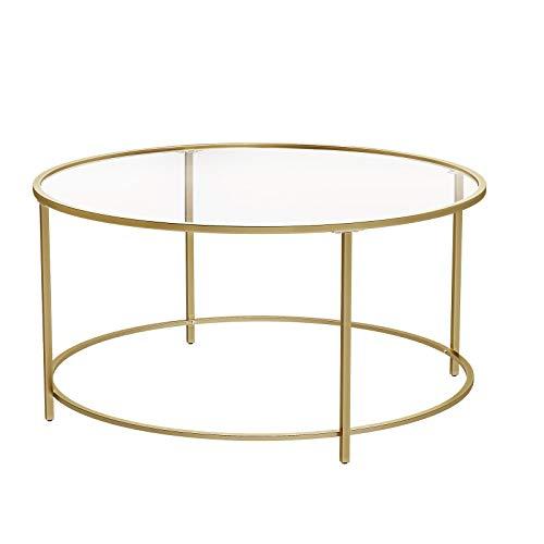 VASAGLE Couchtisch rund, Glastisch mit goldenem...