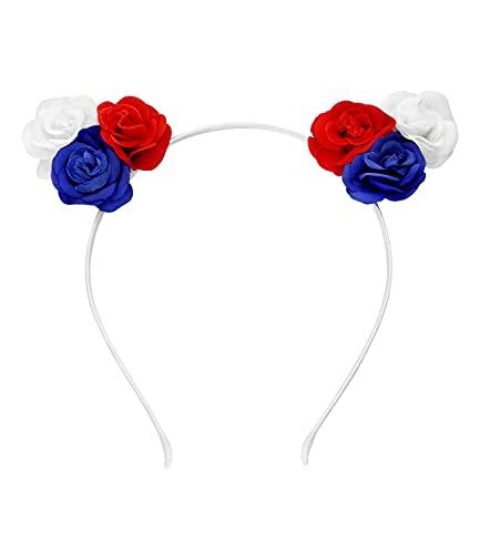 SIX Frankreich elastisches Haarreif mit Blüten,...
