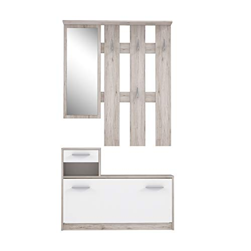 FORTE Kompaktgarderobe inklusive Spiegel,...
