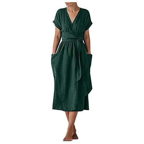 Damen Baumwoll Leinen Langes Kleid Lässig...