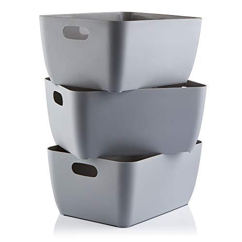 Aufbewahrungsboxen. Graue rechteckige Box Set mit...