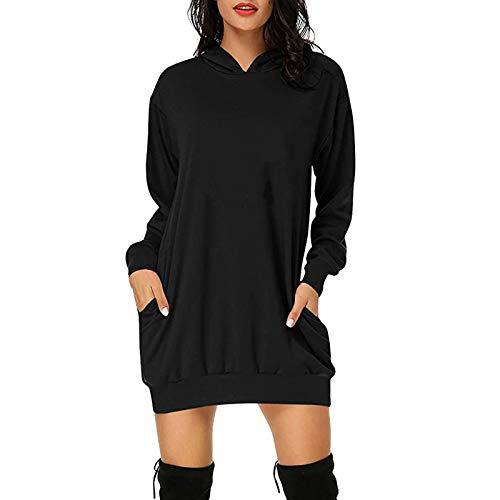 Damen Sweatshirts Lange Pullover Kleid Winter...