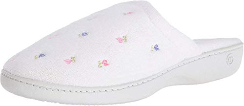 Isotoner Women's Terry Embroidered Scalloped Clog,...