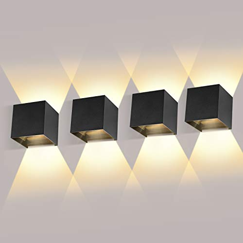 ledmo 4 Pack 12W LED Wandleuchten Innen/Außen...