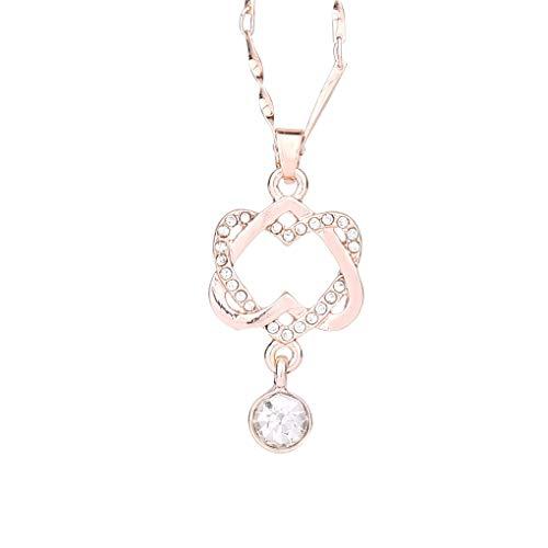 Dorical Halskette für Damen/Frauen Doppel Herz...
