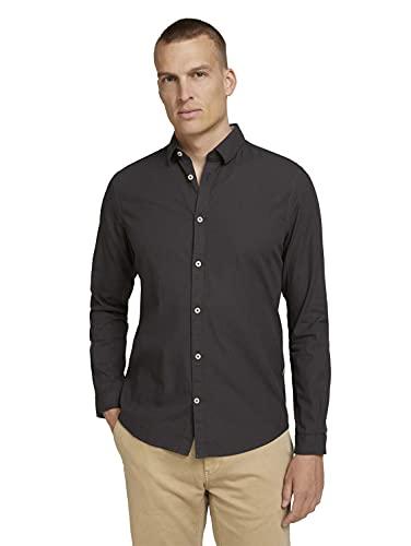 TOM TAILOR Herren Basic Hemd, 27512 - Black Dark...