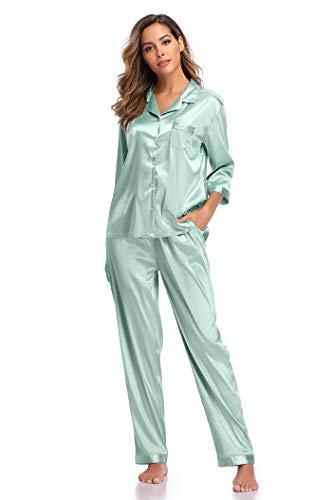 SHEKINI Damen Klassische Zweiteiliger Schlafanzug...