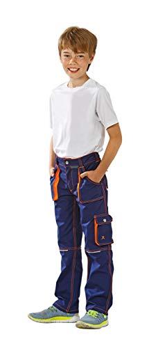 Planam Junior Bundhose, bleumarine/orange, 122/128