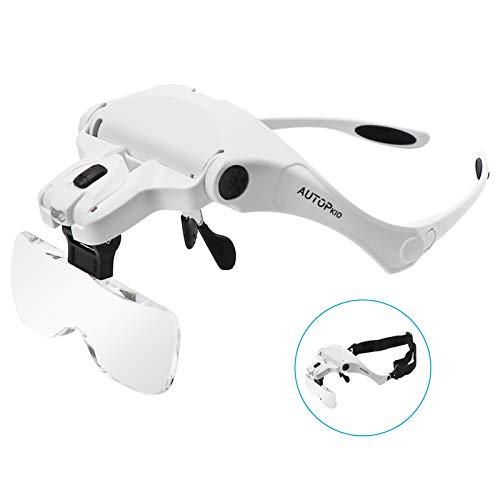 AUTOPkio Lupenbrille mit Licht LED Kopfbandlupe,...