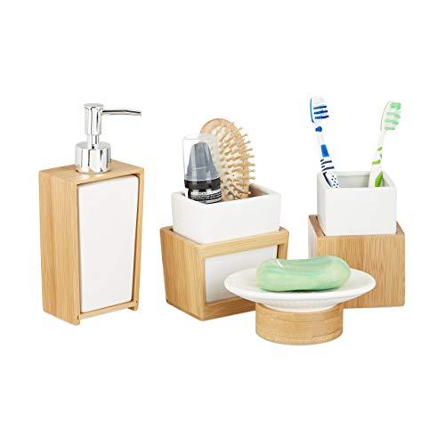 Relaxdays Badezimmer Set, 4-teiliges Badzubehör...