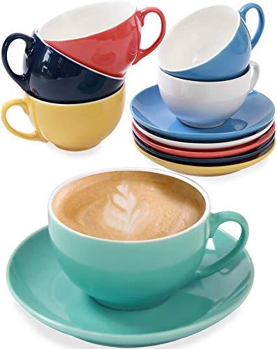 6er Cappuccino Tassen Set mit Untertassen -...