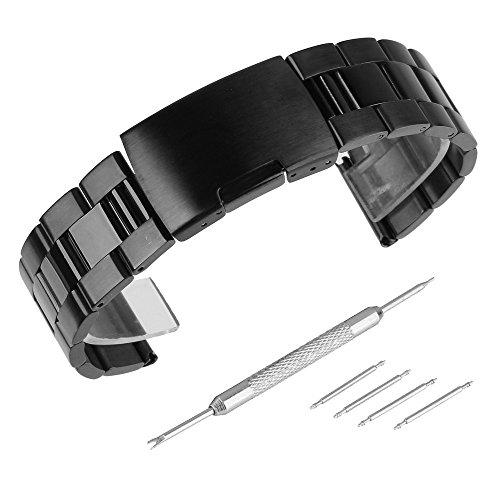 Beauty7 - 22mm Schwarz Edelstahl Uhrenarmband...