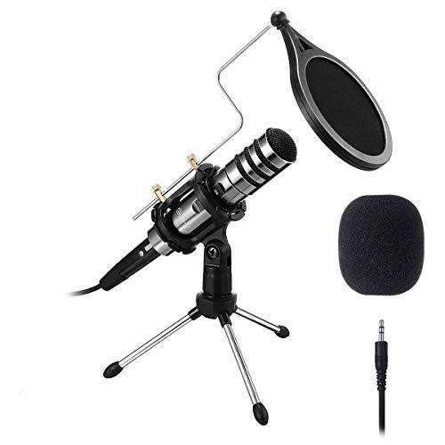 EIVOTOR Aufnahme Mikrofon für Handy und PC 3,5mm...
