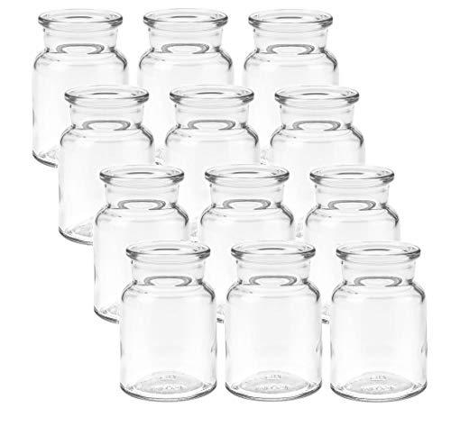 mikken 12 x Kleine Glasvase 9cm Glasflaschen inkl....