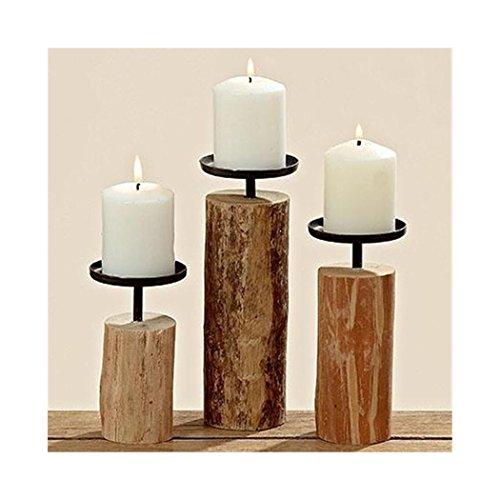 3er Set Kerzenständer aus indischem Eukalyptus...