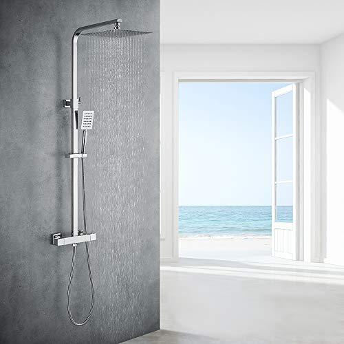 Auralum Chrom Dusche Duschsystem mit Thermostat, 2...