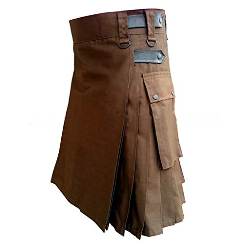 Cuteelf Men Black Cotton Dienstprogramm Kilt, Mode...