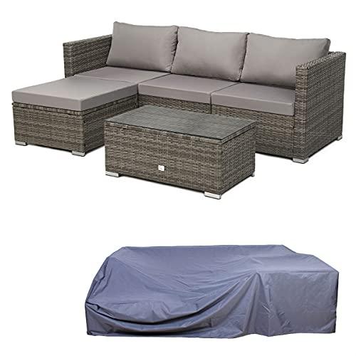 SVITA Queens Polyrattan Lounge Eck-Sofa...