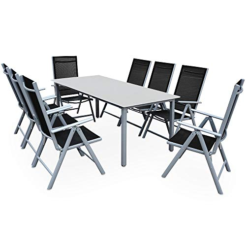 Casaria Sitzgruppe Bern 8+1 Aluminium 7-Fach...