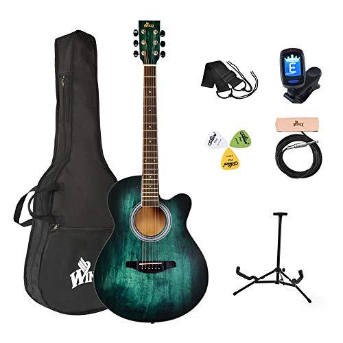 Winzz Akustikgitarre Blau-grün, Westerngitarre 40...