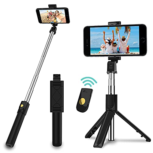 Selfie Stick Stativ, 3 in 1 Mini Selfiestick mit...