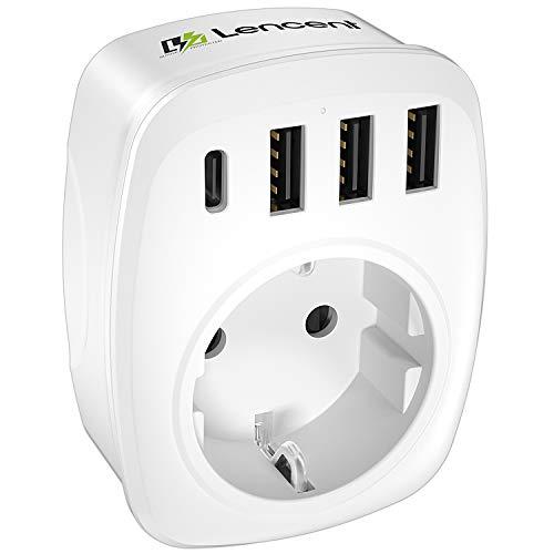 LENCENT USB Steckdose Mehrfachstecker EU Adapter...