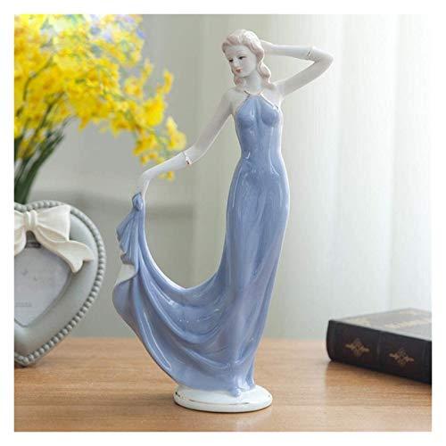 WQQLQX Statue Land Mädchen Dame Statue Keramik...