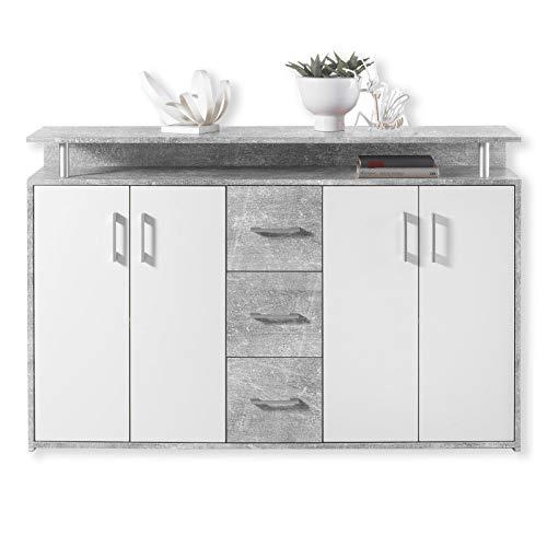 DRIFT Sideboard mit Ablage in Beton Optik, Weiß -...