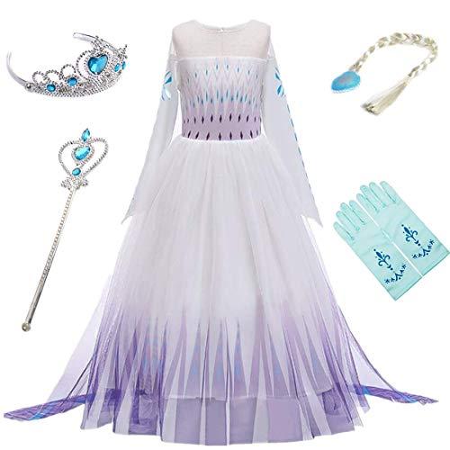 YOGLY Mädchen Prinzessin Elsa Kleid Kostüm...