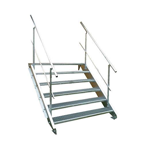 6 Stufen Stahltreppe mit beidseitigem...