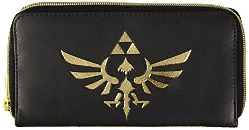 Nintendo Geldbörse (Damen) Gold Zipper, schwarz