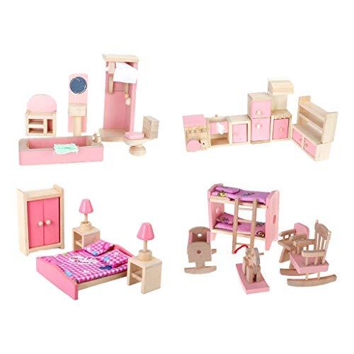 EPRHY 4 Set Puppenhausmöbel Kinderspielzeug...