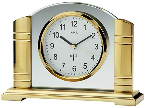 AMS Funk Tischuhr, Holz, Gold, 33 x 27 x 15 cm