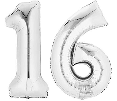 TopTen Folienballon Zahl 16 XL Silber ca. 70 cm...