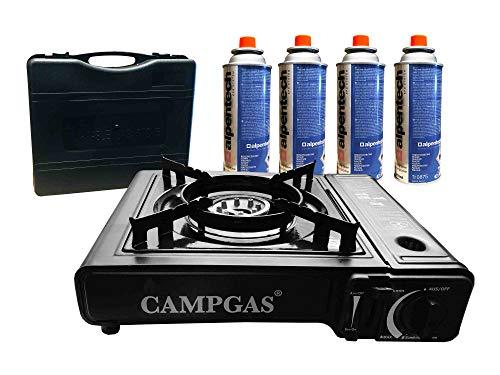 Gaskocher + Koffer + 4 Gaskartuschen