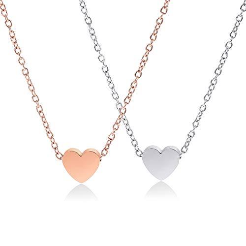 Crazy-M 2 STK Herzkette Halskette mit Herz...